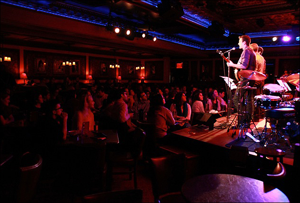 Shubert Alley and the crowd at 54 Below