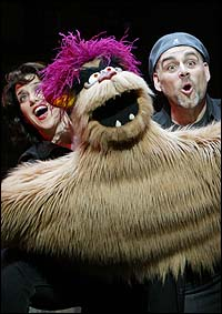 Sharon Wheatley and David Benoit, with Trekkie Monster, in the Las Vegas production of <I>Avenue Q</I>.
