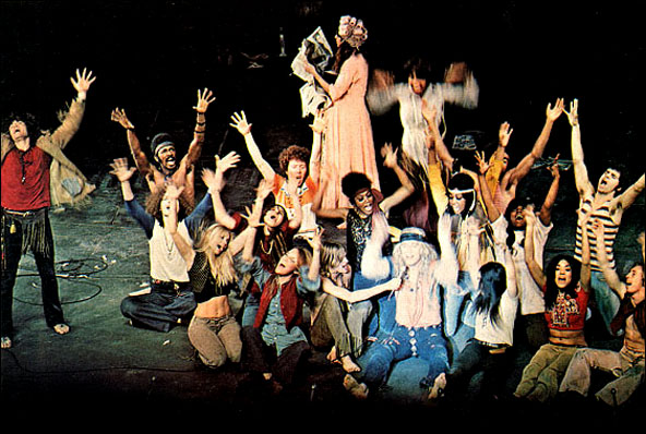 Gerome Ragni, Ben Vereen, Bert Sommers, Rhonda Ogelsby Coulet, Jennifer Warnes, Willie Weatherly, Teda Bracci, Jobriath, James Rado, Elaine Hill, Delores Hall, Denise Delapenna and Greg Arlin, LA production of Hair at the Aquarius Theatre, 1969