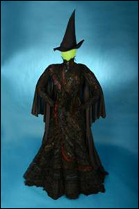 The elphaba costume hat and broom from the hit musical wicked were