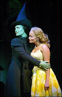 Original <I>Wicked</I> stars Idina Menzel (green) and Kristin Chenoweth (blonde)