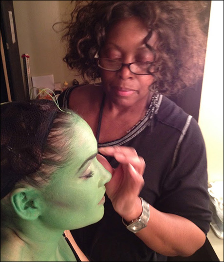 A quick stop by to check-in with Christine Dwyer as Joyce makes the final touches on our green leading lady.