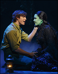 Derek Klena and Lindsay Mendez in <i>Wicked</i>.
