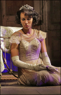 Nicole Ari Parker as Blanche DuBois in the new Broadway revival of <i>A Streetcar Named Desire.</i>