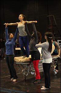 Kimiko Glenn and cast in rehearsal