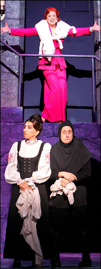 Megan Mullally, Andrea Martin and Christopher Fitzgerald in <i>Young Frankenstein</i>.