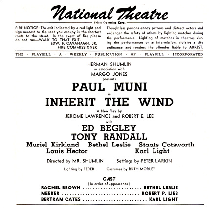 PLAYBILL ARCHIVES: Inherit the Wind — 1955 | Playbill