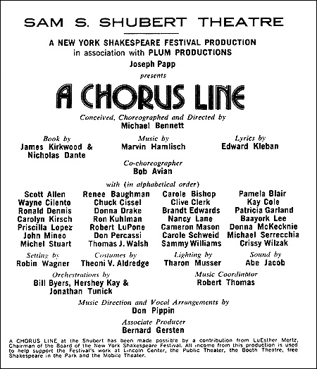 PLAYBILL ARCHIVES: A Chorus Line — 1975 | Playbill