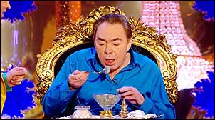 [Image of Andrew Lloyd Webber sitting on a throne on his reality TV show eating a parfait.]