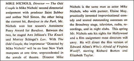 PLAYBILL ARCHIVES: The Odd Couple — 1965 | Playbill