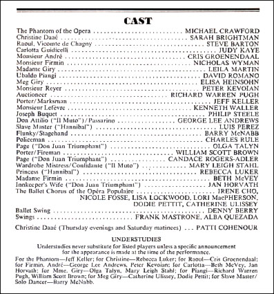 PLAYBILL ARCHIVES The Phantom Of The Opera 1988 Playbill