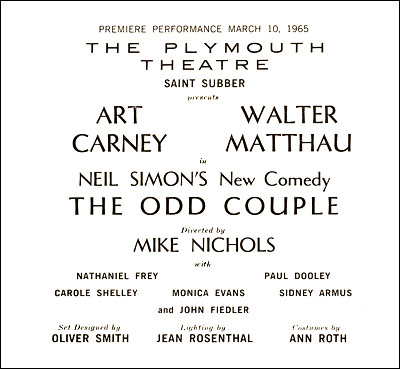 Image result for play the odd couple broadway 1965